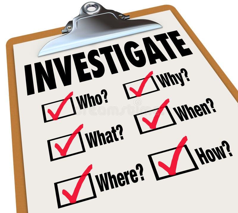 Investigue la investigación de la lista de verificación de las preguntas de los hechos básicos ilustración del vector