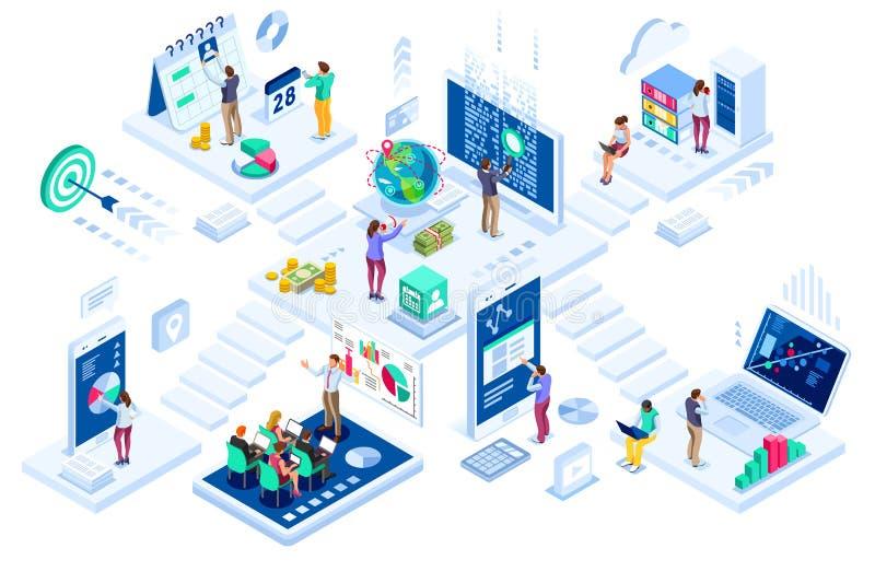 Investimenti e vendita contemporanea di finanza virtuale illustrazione di stock