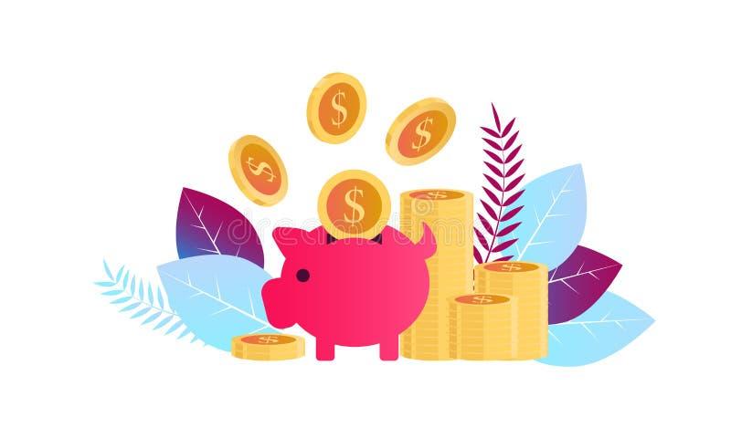 Investimenti finanziari di concetto, investimento nell'innovazione, vendita, analisi, sicurezza dei depositi per l'insegna illustrazione di stock