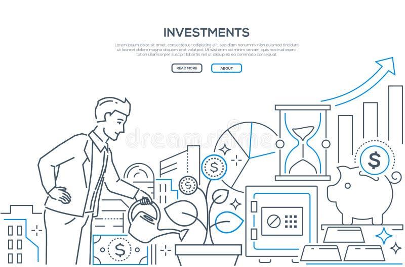 Investimenti - linea moderna insegna di web di stile di progettazione illustrazione di stock