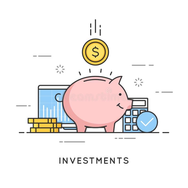 Investimenti, risparmio dei soldi, gestione del bilancio, profitto finanziario illustrazione di stock