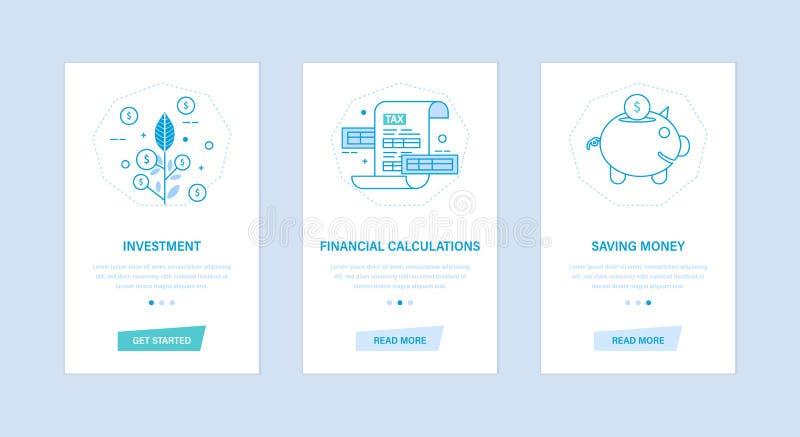 Investimento, cálculos financeiros, dinheiro de salvamento Interfaces de utilizador, telefones de telas ilustração royalty free