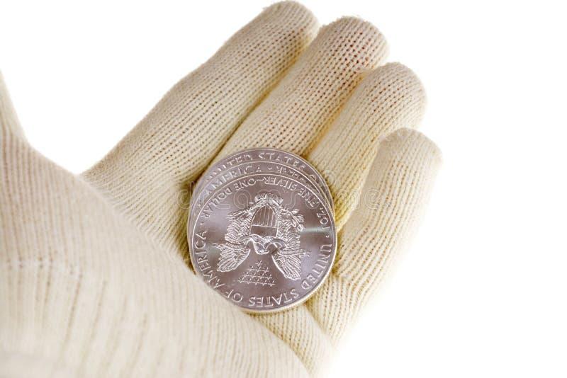 Investimento d'argento della moneta d'oro, americano Eagle fotografia stock libera da diritti