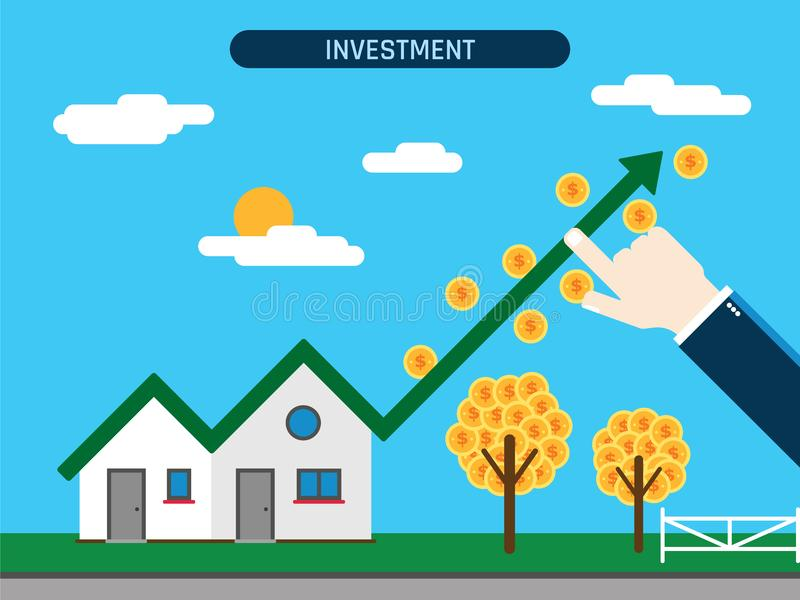 Investimento della proprietà con il grafico di successo illustrazione vettoriale