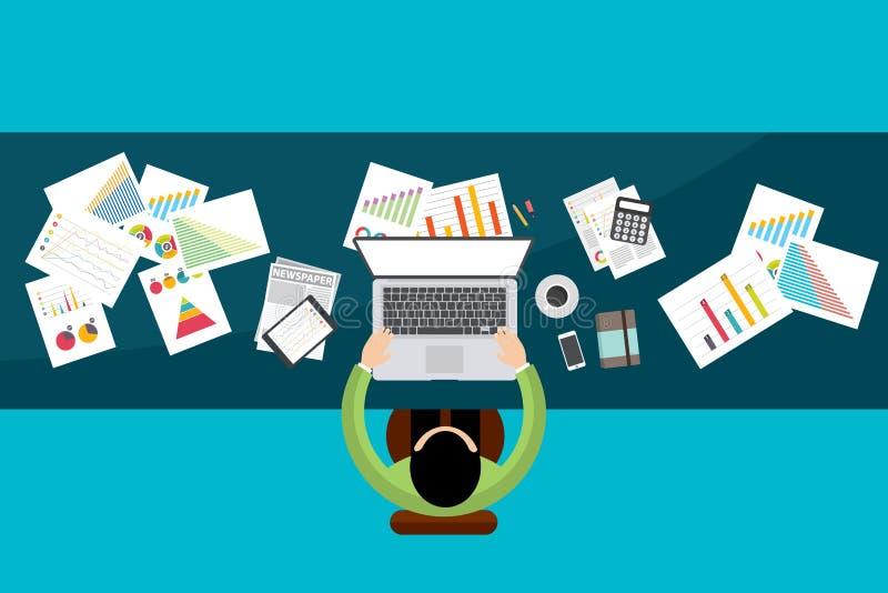 Investimento di finanza di affari con i grafici ed i grafici Vettore illustrazione di stock