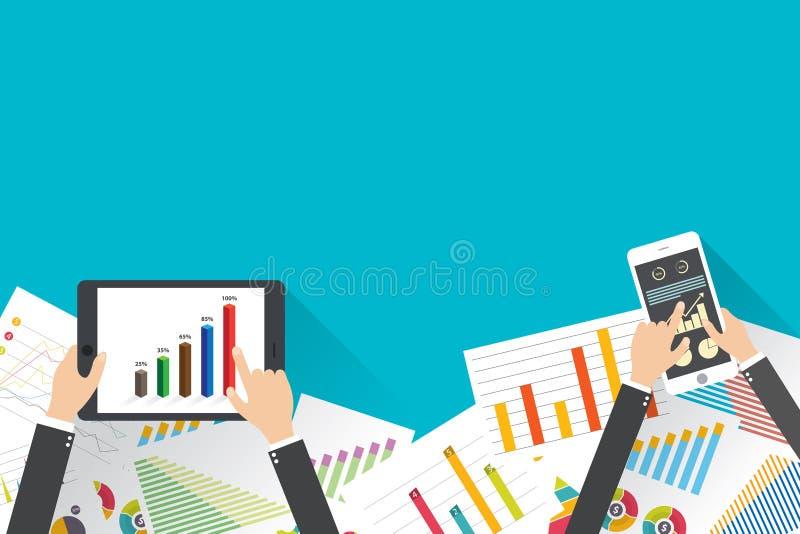 Investimento di finanza di affari con i grafici ed i grafici Vettore illustrazione vettoriale