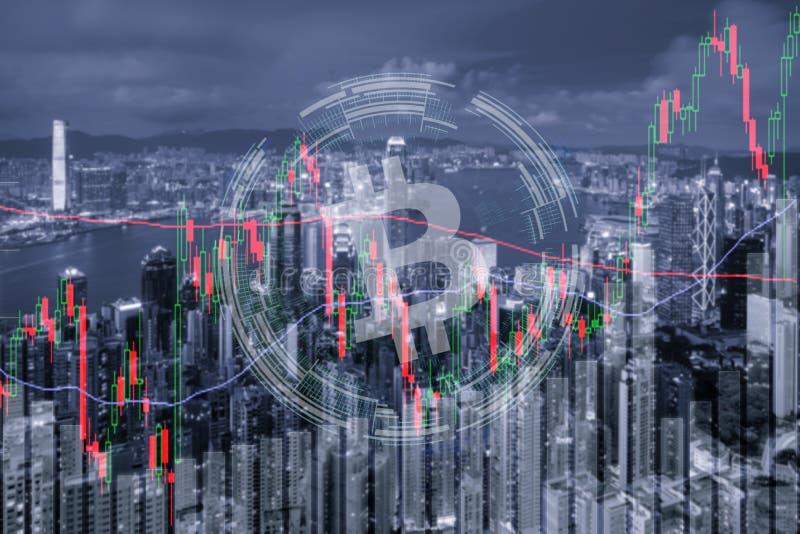 Investimento do mercado de valores de ação da troca de troca de Bitcoin, estrangeiro com tendência da carta da vara do gráfico, d fotografia de stock royalty free