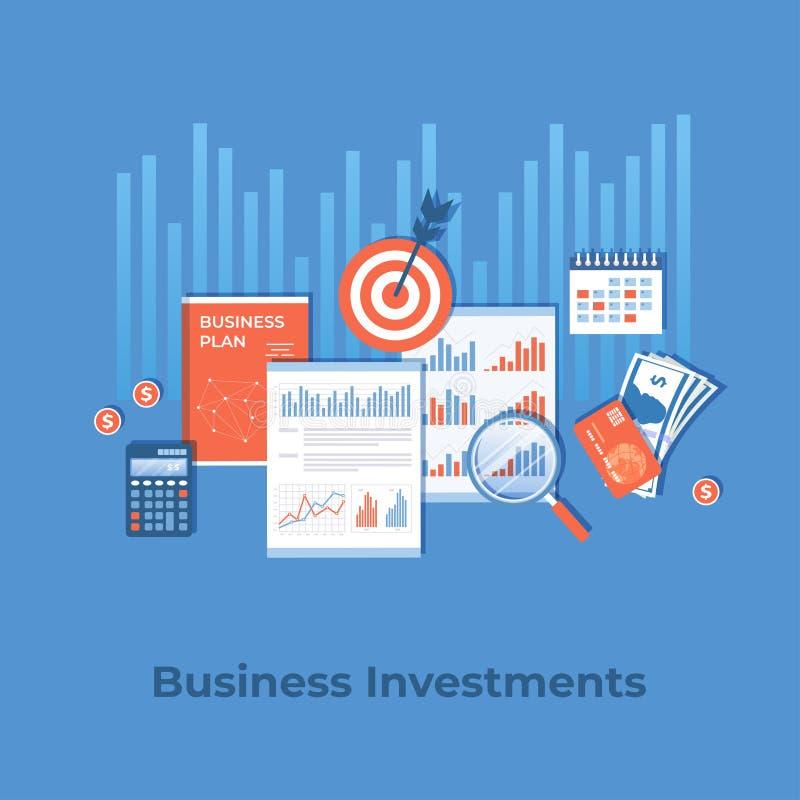 Investimento empresarial, planeamento financeiro, estratégia, gestão Diagram a carta em originais, plano de negócios do gráfico,  ilustração royalty free