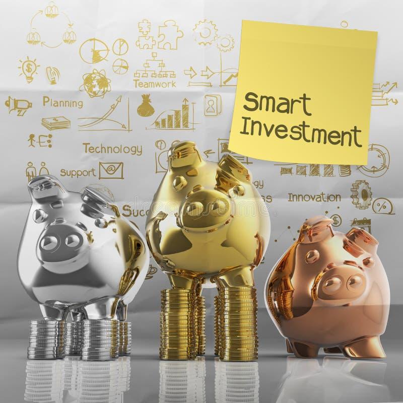 Investimento esperto com nota pegajosa no mealheiro do vencedor imagens de stock royalty free