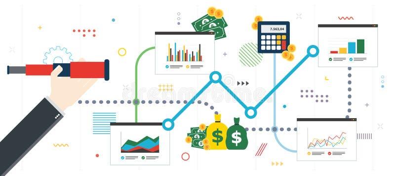 Investimento financeiro, crescimento, sucesso e dinheiro do ganho ilustração royalty free