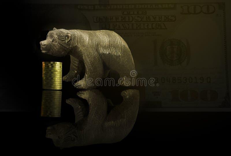 Investimento financeiro no mercado de urso Como trocar na situação da avaliação do risco O dinheiro era atribui à eficiência do p fotos de stock royalty free