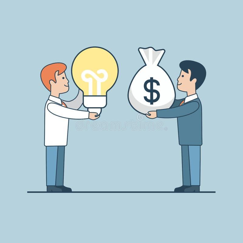 Investimento liso linear da lâmpada do saco do dinheiro do acionista ilustração do vetor