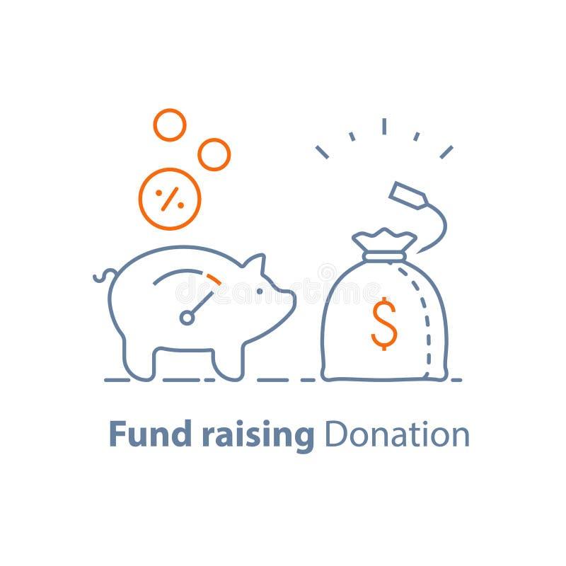 Investimento a lungo termine, raccolta di fondi, donazione di carità, risparmio di pensione, borsa dei soldi, crescita di reddito illustrazione vettoriale