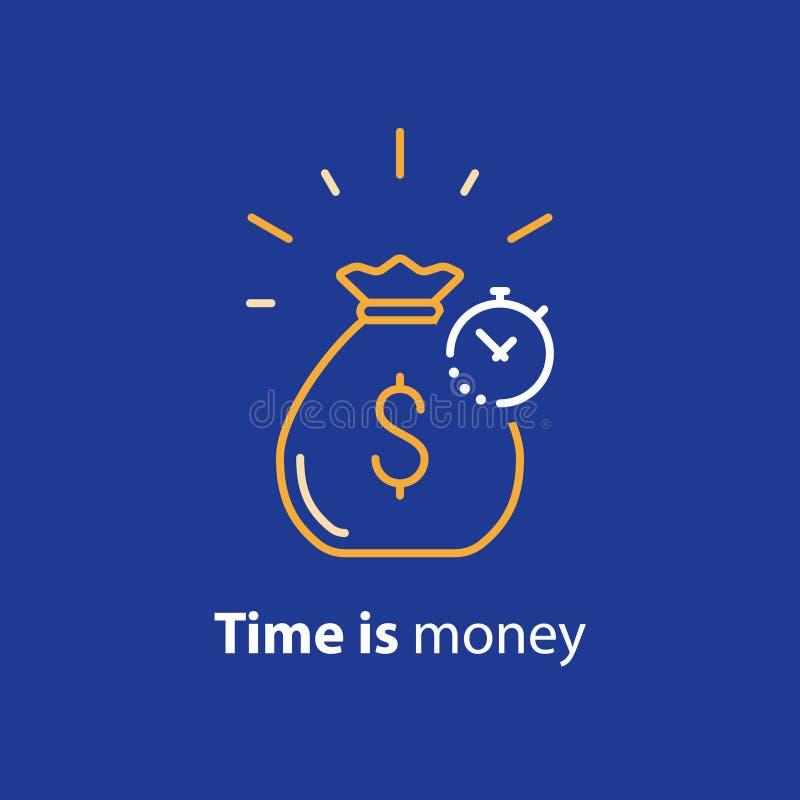 Investimento a lungo termine, ritorno sull'investimento dei soldi, linea icona di pianificazione dell'cassa di pensione illustrazione vettoriale