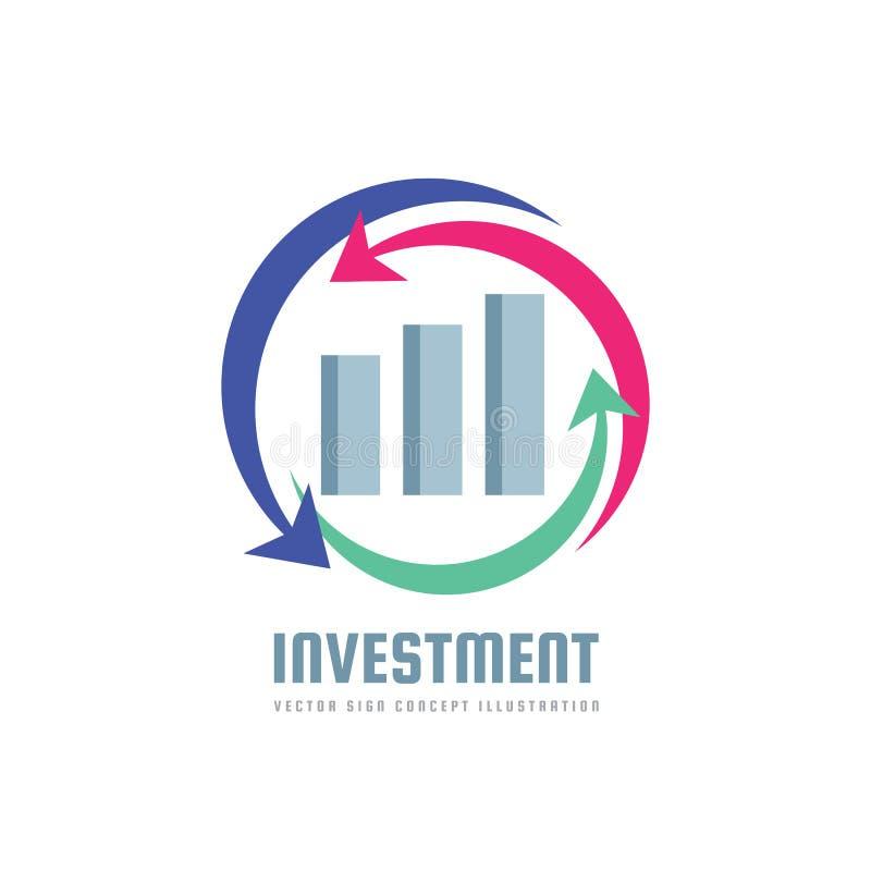 Investimento - molde do logotipo da finança do negócio - ilustração do conceito do vetor Sinal infographic econômico Setas e barr ilustração royalty free