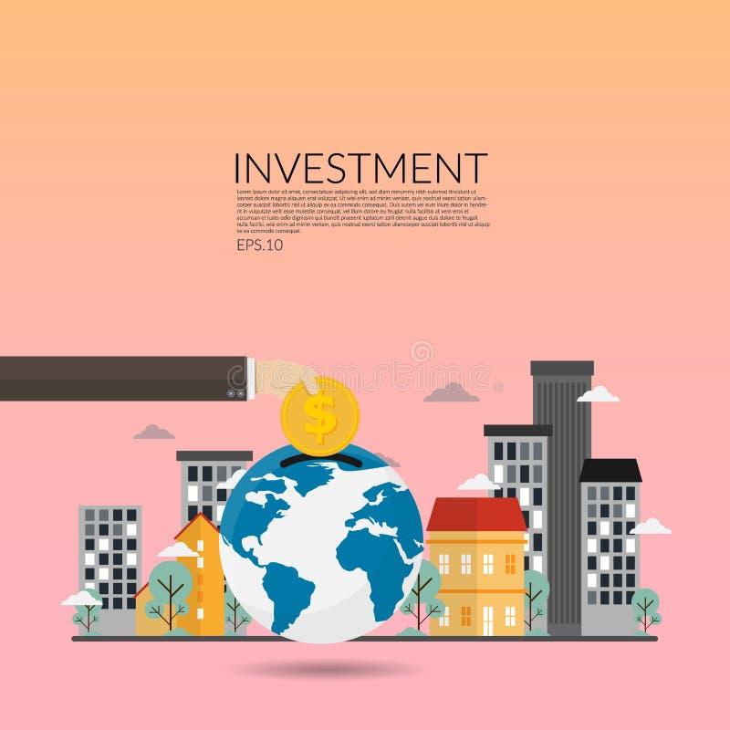 Investimento nel bene immobile vettore creativo degli investimenti finanziari, dell'introduzione sul mercato, dell'analisi, del r illustrazione vettoriale