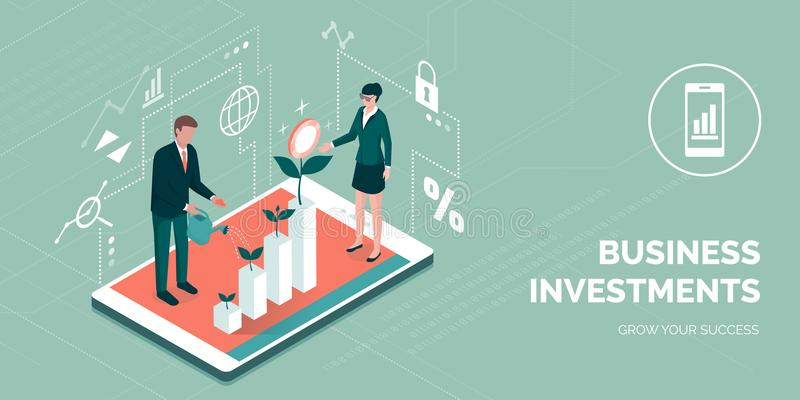 Investimentos empresariais e tecnologia bem sucedidos ilustração royalty free