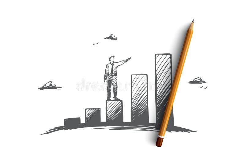 Investimentos, lucro, perspectiva, negócio, conceito do crescimento Vetor isolado tirado mão ilustração do vetor