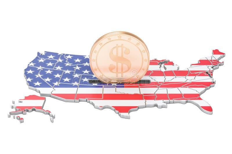 Investimentos nos EUA, conceito do negócio rendição 3d ilustração do vetor