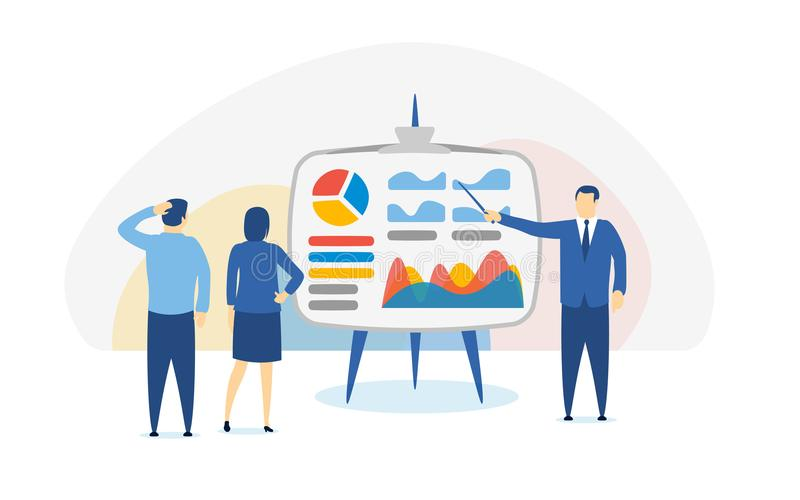 Investimentos para novatos Bandeira em um estilo liso Investimento, finança e operação bancária espertos, gestão estratégica, aná ilustração stock