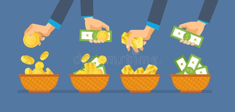 Investimentos, sucesso financeiro Contas de dinheiro da posse das mãos e moedas de ouro ilustração royalty free