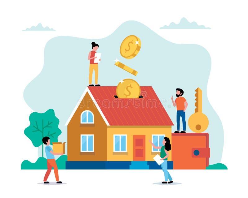 Investindo o dinheiro em bens imobiliários, casa de compra, pessoa pequeno que faz várias tarefas Ilustra??o do vetor do conceito ilustração do vetor