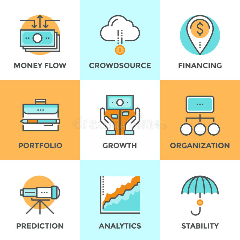 Investing and financing line icons set stock illustration