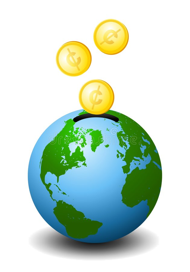 Investing In the Future of Earth. An illustration featuring the planet Earth as a piggybank with gold coins being dropped into it - a representation of investing stock illustration