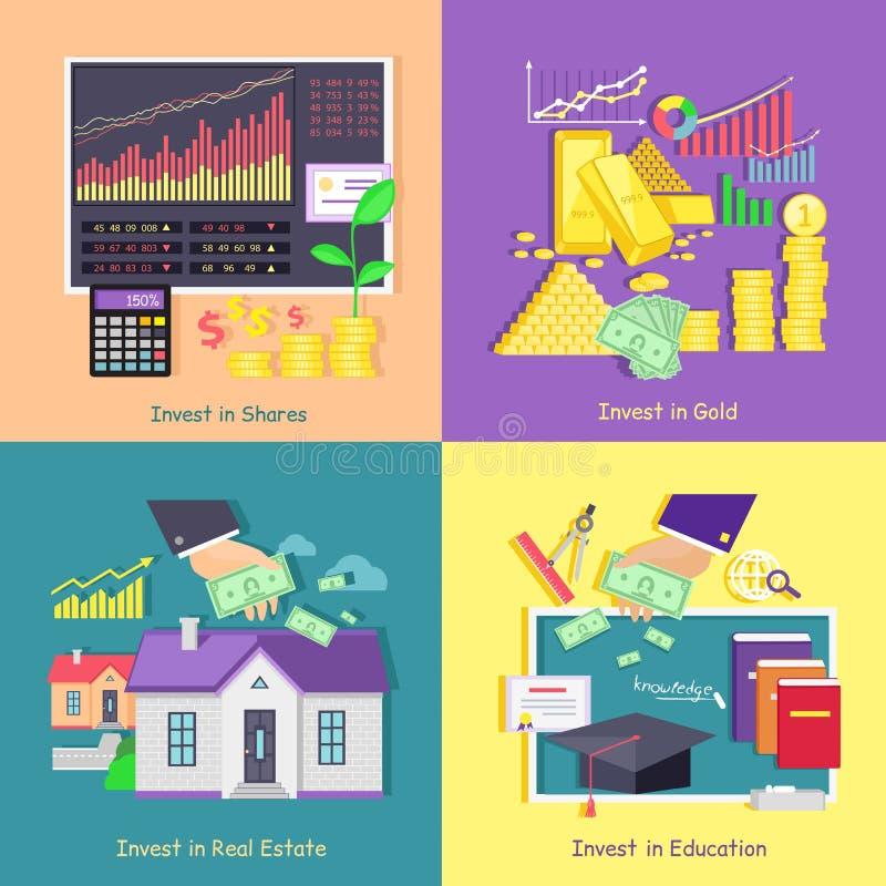 Investissant en or, études, Real Estate et actions illustration de vecteur