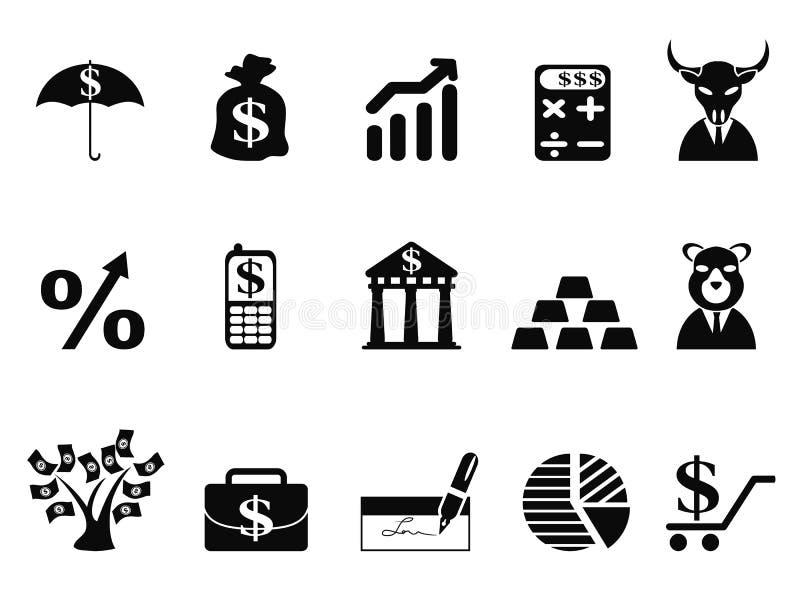Investissant et icônes de finances réglées illustration stock