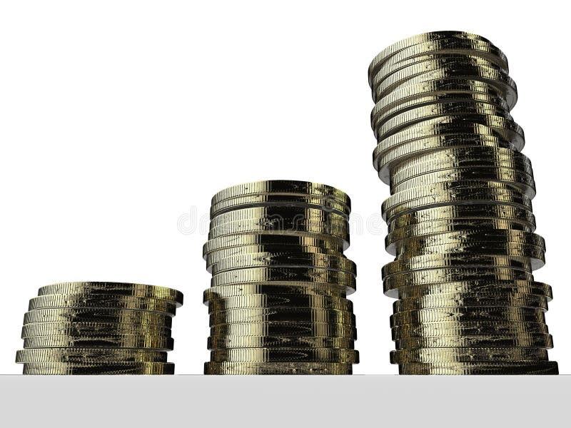 Investissement d'argent Euro pièces de monnaie argent empilé l'épargne illustration libre de droits