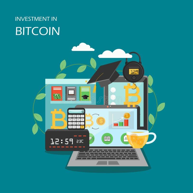 Investissement dans l'illustration plate de conception de style de vecteur de bitcoin illustration stock