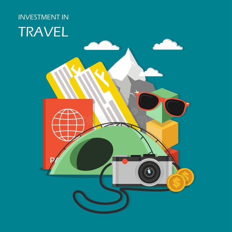 Investissement dans l'illustration plate de vecteur de concept de voyage illustration libre de droits