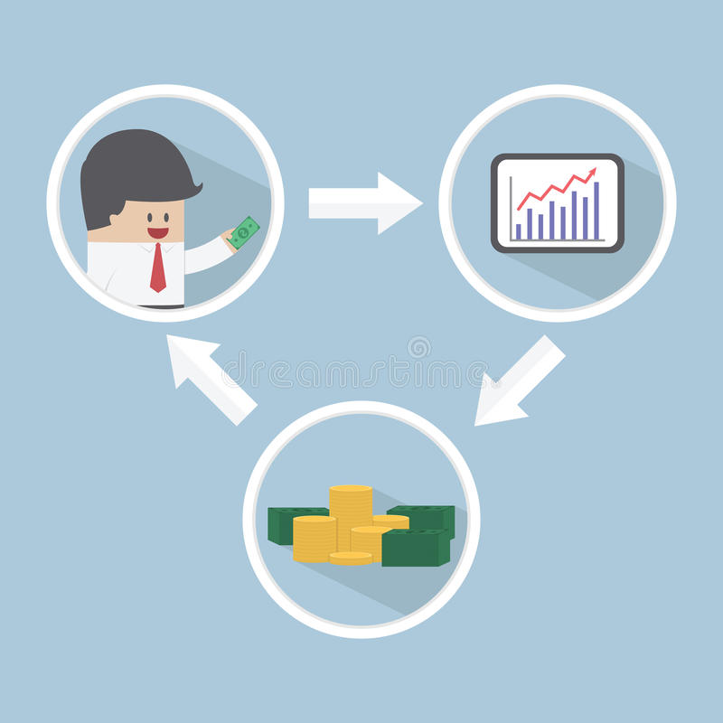 Investissement de marché boursier, concept financier illustration de vecteur