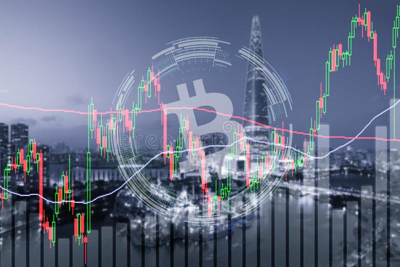 Investissement de marché boursier d'échange commercial de Bitcoin, forex avec le tre photo stock