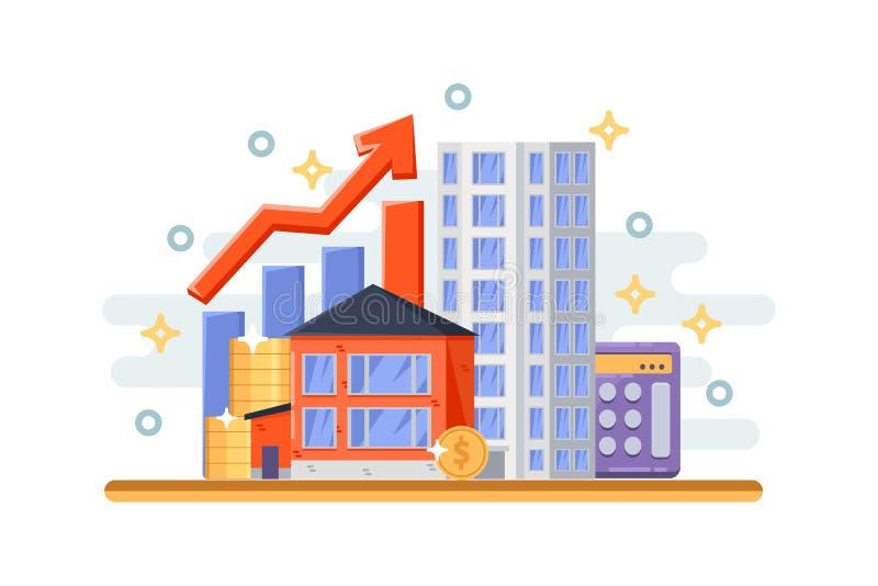 Investissement de propriété, concept d'affaires d'hypothèque Objets d'immobiliers, maison de cottage et gratte-ciel Illustration  illustration de vecteur