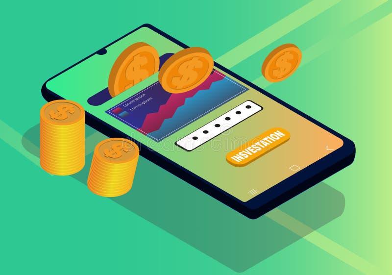 Investissement ou économie de Digital par concept isométrique de conception de smartphone illustration stock