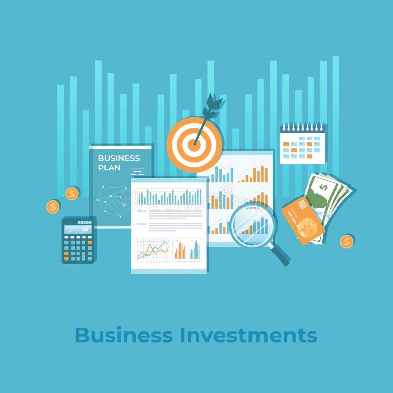 Investissement productif, planification financière, stratégie, gestion Diagramme de graphique de diagramme sur des documents Risq illustration stock