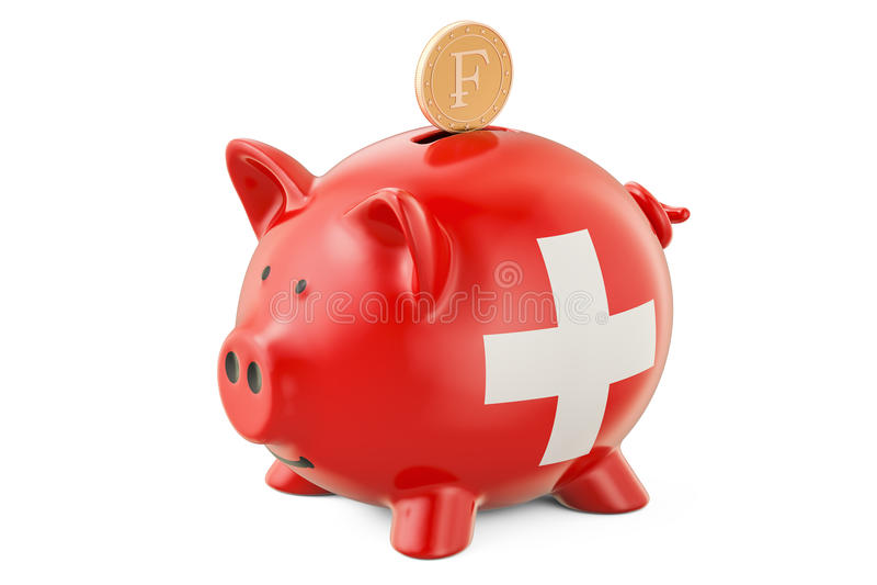 Investissements en Suisse Tirelire avec le drapeau et le fran d'or illustration libre de droits