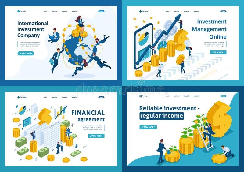 Investissements isométriques du monde, argent liquide, argent illustration stock