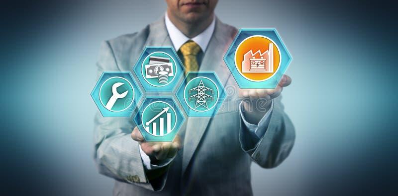 Investisseur industriel projetant la croissance pour ESaaS images stock