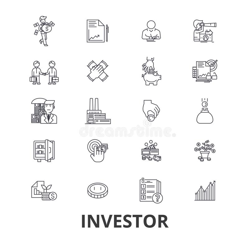 Investisseur, investissement, affaires, marché boursier, finances, argent, homme d'affaires, ligne de banque icônes Courses Edita illustration stock
