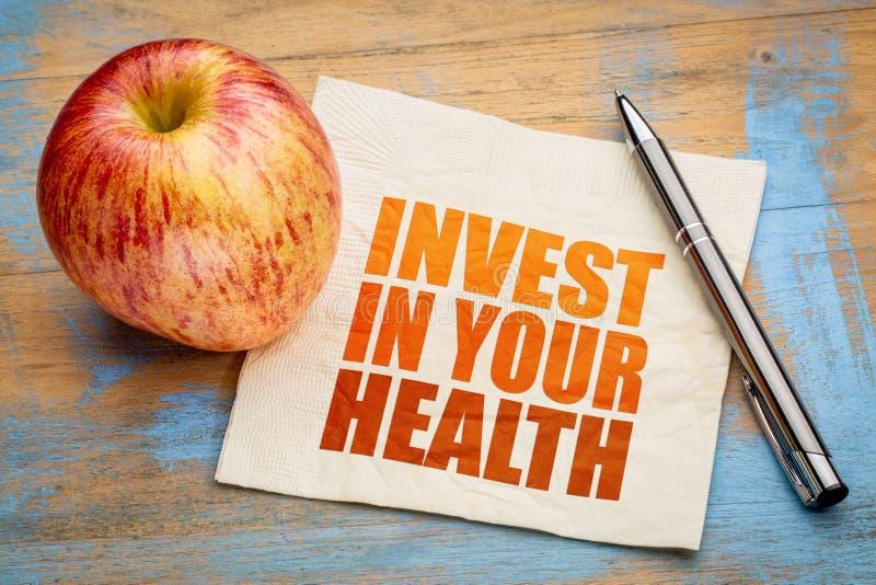 Investissez dans votre abrégé sur mot de santé photo stock