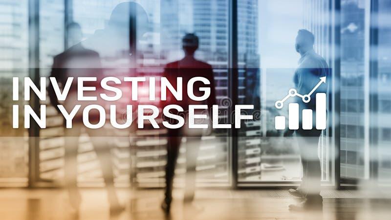 Investissez dans vous-même Concept personnel de développement et d'éducation sur le fond brouillé abstrait illustration stock