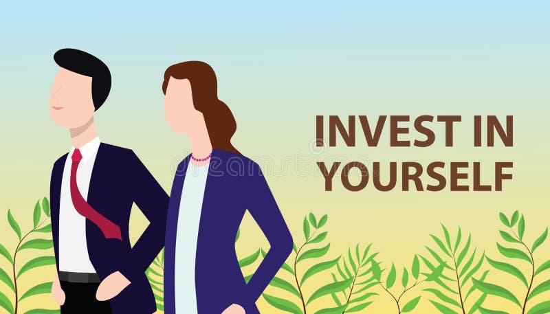 Investissez dans vous-même le concept avec l'homme d'affaires et la femme d'affaires se tenant ensemble recherchants l'améliorati illustration de vecteur