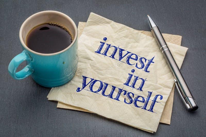 Investissez dans vous-même le conseil photo stock