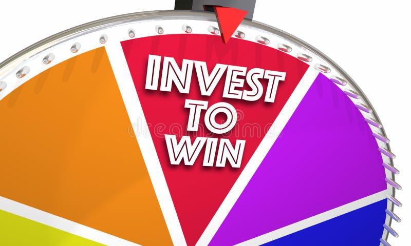 Investissez pour gagner le conseil financier de marché boursier de roue d'exposition de jeu illustration de vecteur