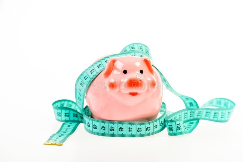 Investition Darlehenskonzept Bekommen Sie Anerkennung schlechte Bezahlung Stecken eines Geldes in eine piggy Querneigung ablageru stockbild