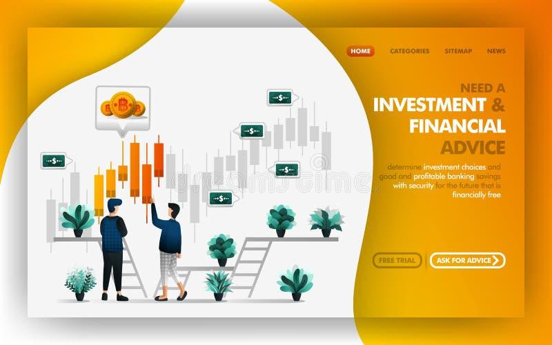 Investition und Finanzratvektor-Netz-Illustration, bemannen das Verweisen und beraten seinen Freund über eine Wahl der guten Inve vektor abbildung