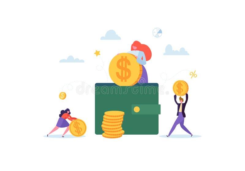 Investitions-Finanzkonzept Geschäftsleute, die Kapital und Gewinne erhöhen Reichtum und Einsparungen mit Charakter-Geld stock abbildung
